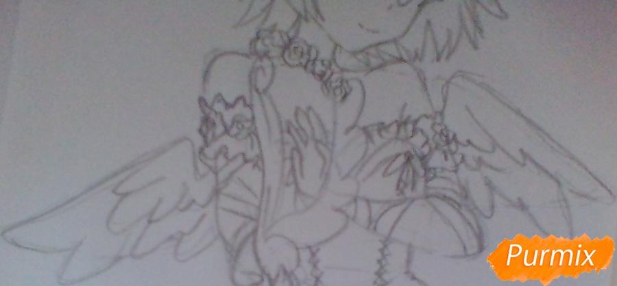 Девушка ангел с арфой в аниме стиле - шаг 9