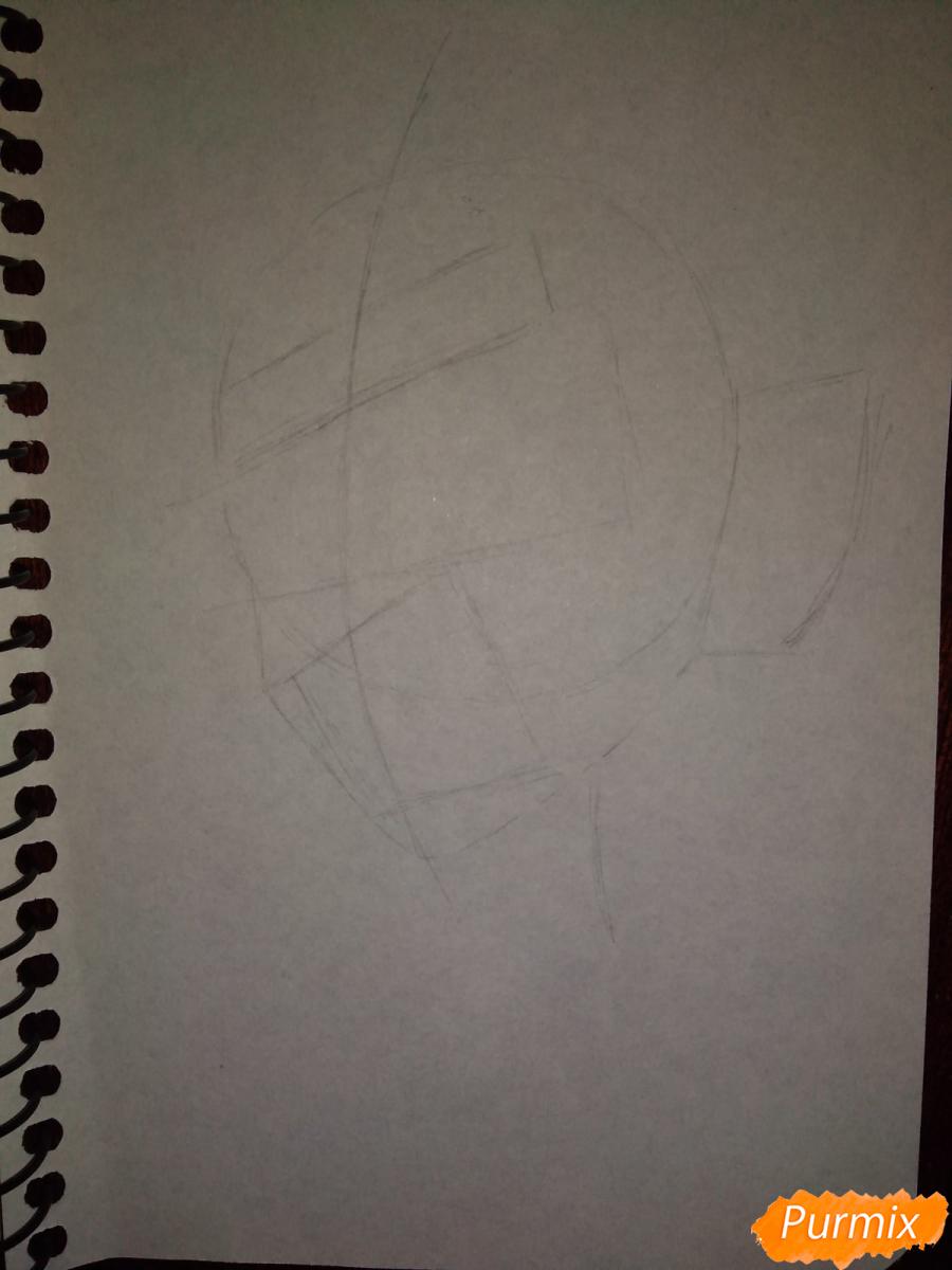 Рисуем Зеницу Агацума из аниме Клинок рассекающий демонов - шаг 2