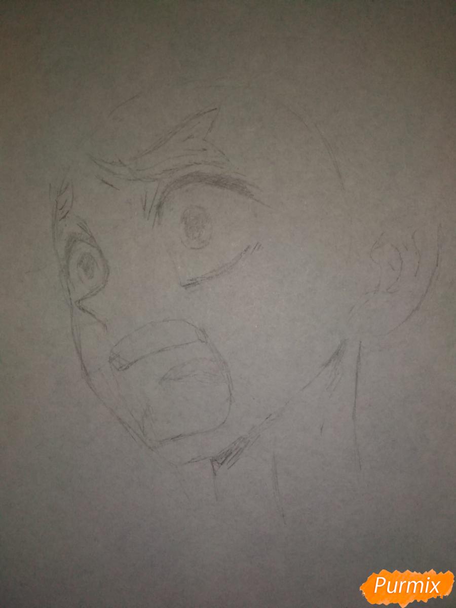 Рисуем Зеницу Агацума из аниме Клинок рассекающий демонов - шаг 3