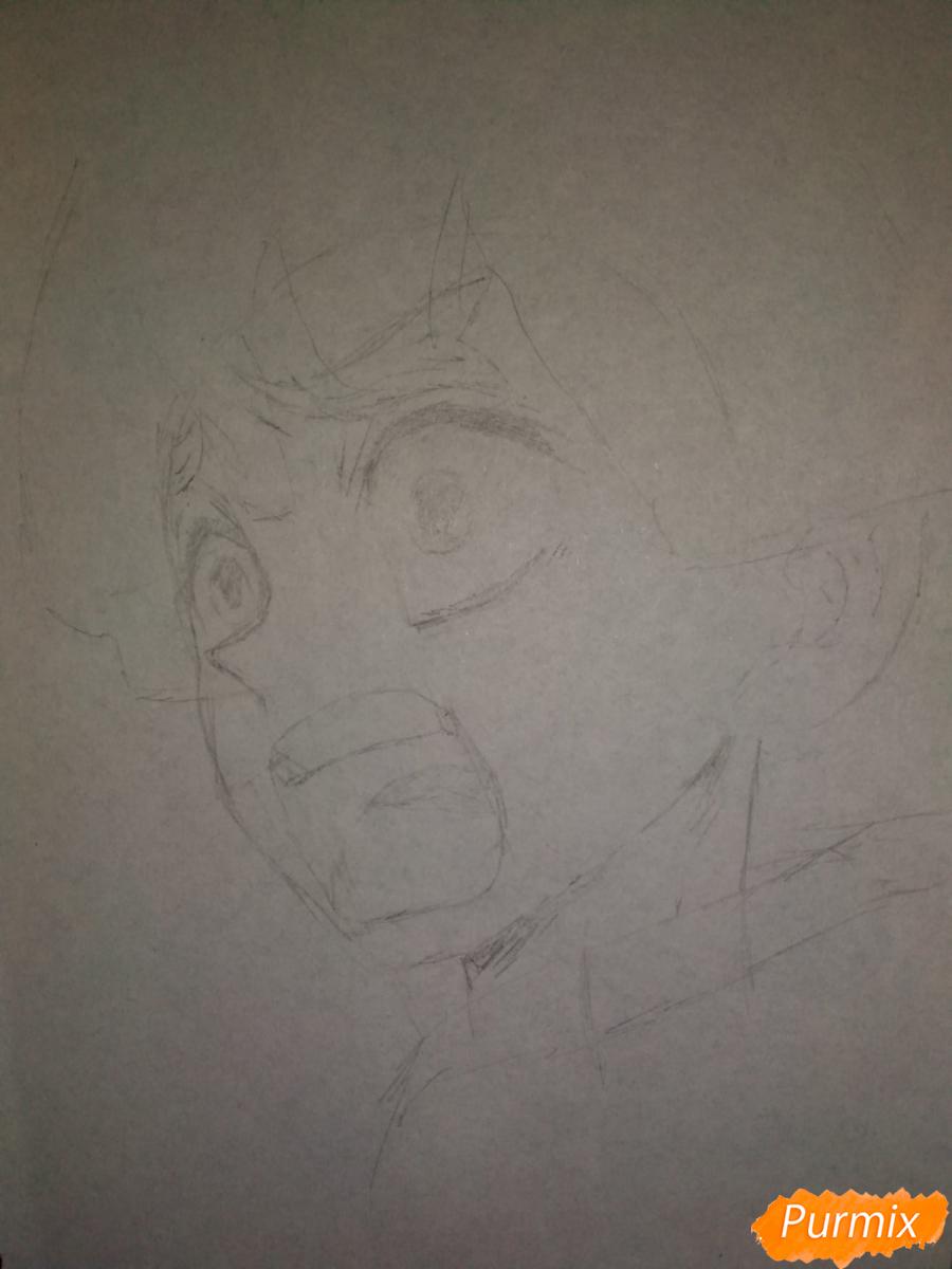 Рисуем Зеницу Агацума из аниме Клинок рассекающий демонов - шаг 4