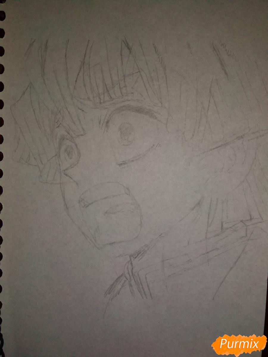 Рисуем Зеницу Агацума из аниме Клинок рассекающий демонов - шаг 5