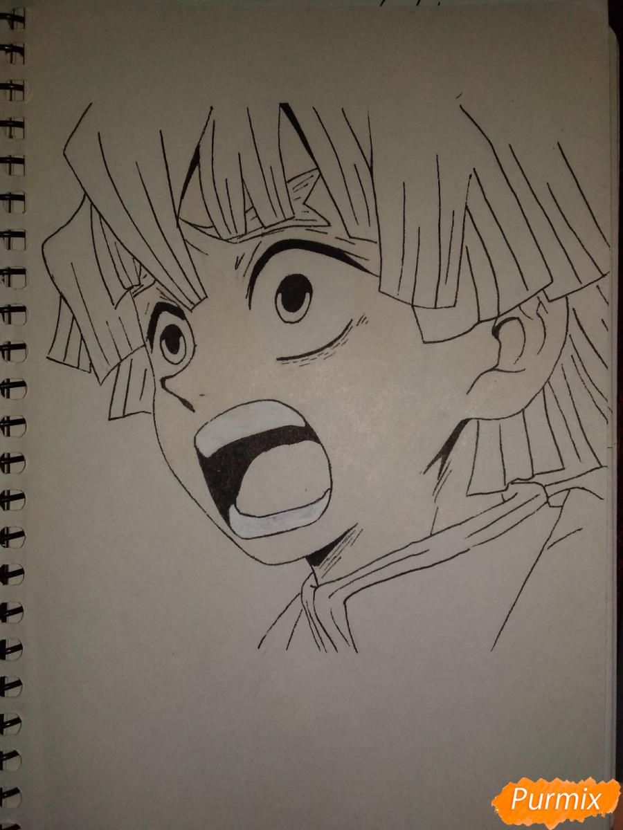Рисуем Зеницу Агацума из аниме Клинок рассекающий демонов - шаг 6