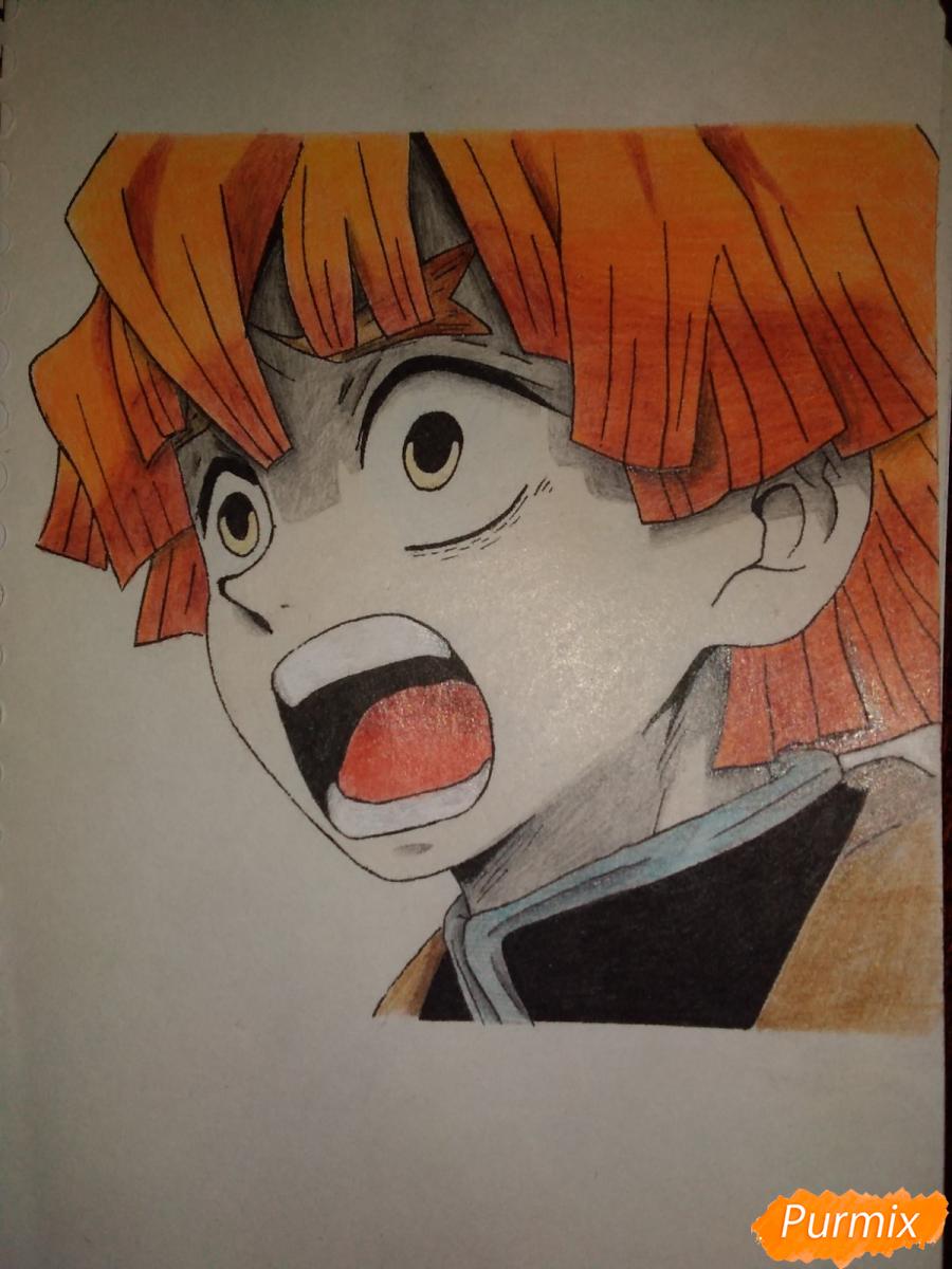 Рисуем Зеницу Агацума из аниме Клинок рассекающий демонов - шаг 8