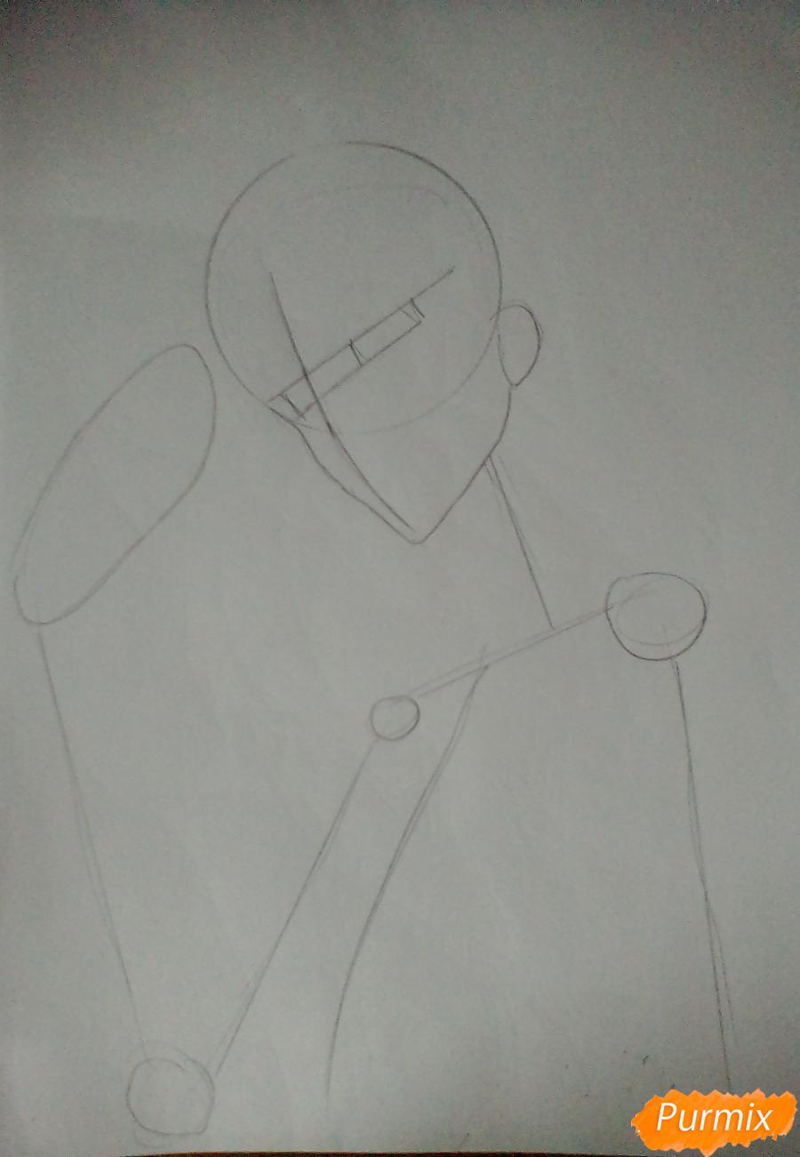 Рисуем Акаши Сейджуро из аниме Баскетбол Куроко - шаг 1