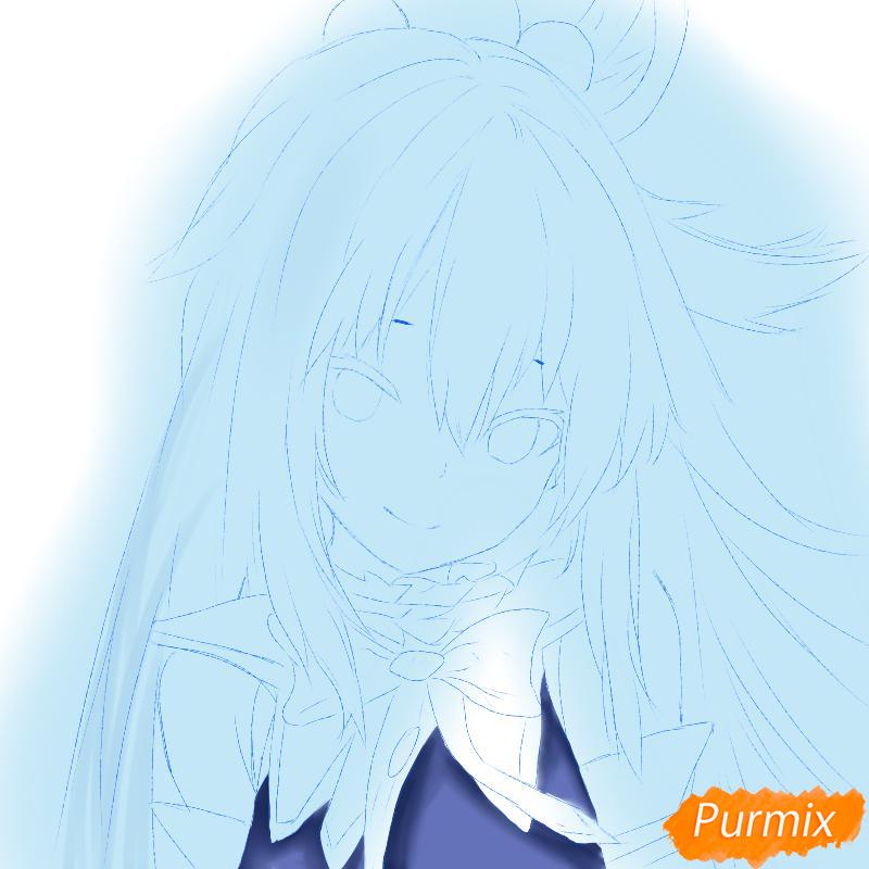 Рисуем Акву из аниме Богиня благословляет этот прекрасный мир - шаг 3