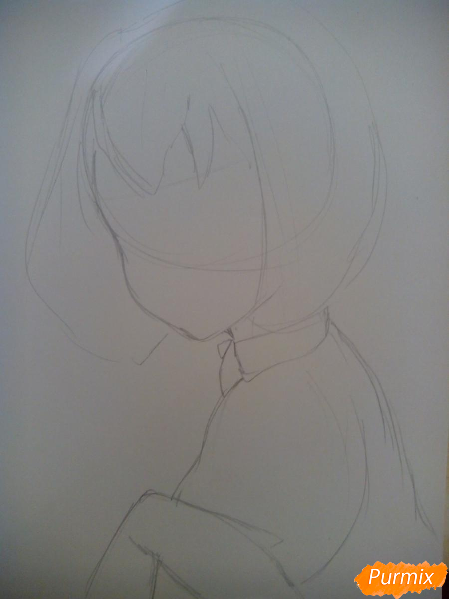 Рисуем Алмаз из аниме Страна Самоцветов карандашами - шаг 1
