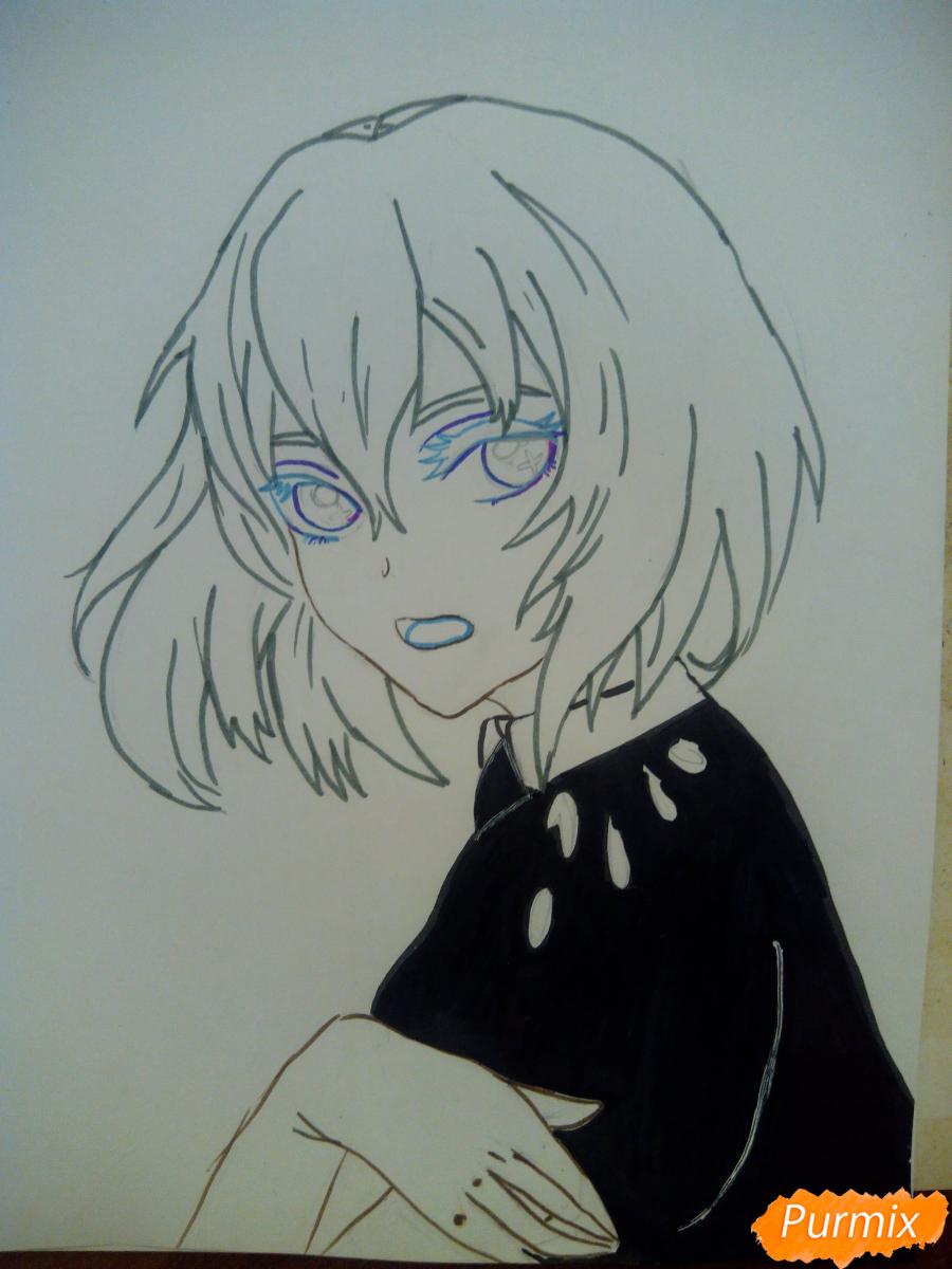 Рисуем Алмаз из аниме Страна Самоцветов карандашами - шаг 6