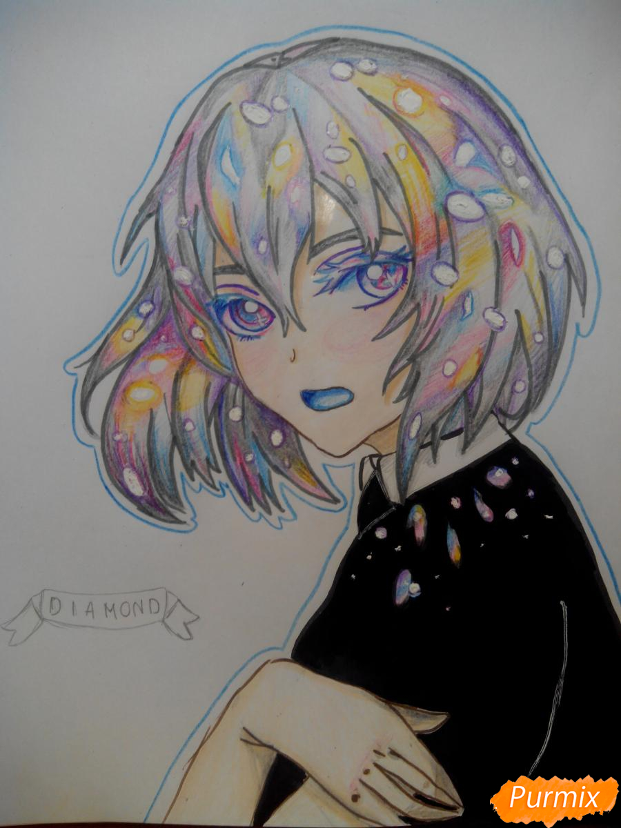 Рисуем Алмаз из аниме Страна Самоцветов карандашами - шаг 9
