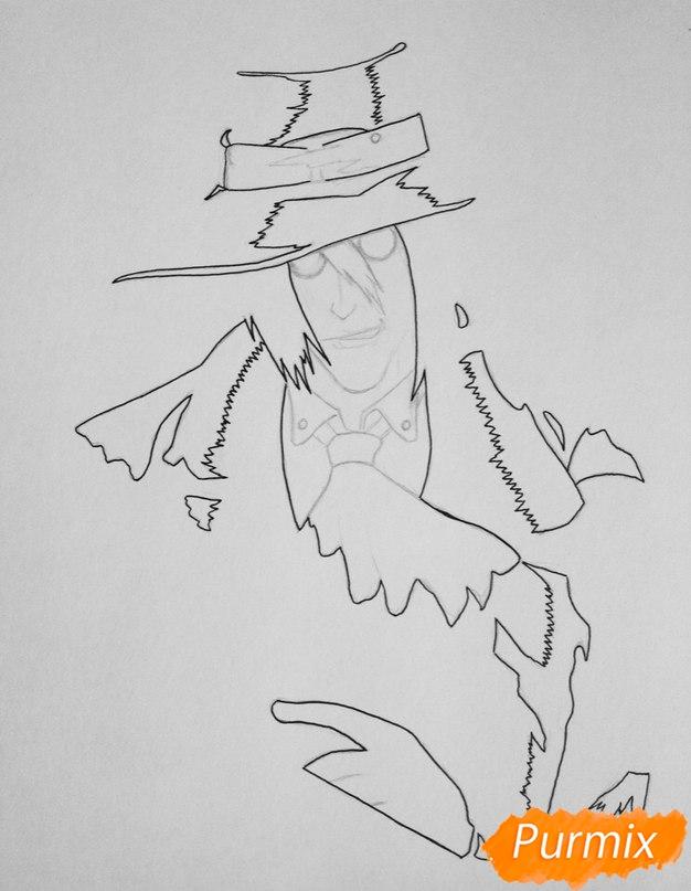Рисуем Алукарда из аниме Хеллсинг цветными карандашами - шаг 2