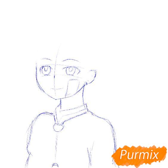 Рисуем Аманэ Юги из аниме Туалетный мальчик Ханако-кун - шаг 3
