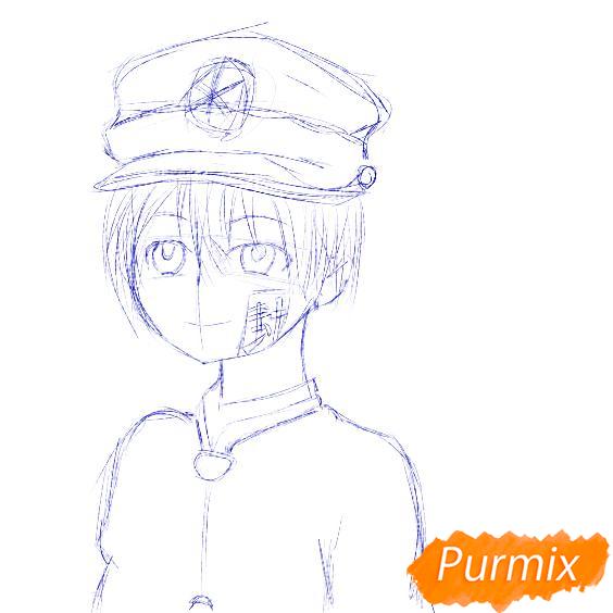 Рисуем Аманэ Юги из аниме Туалетный мальчик Ханако-кун - шаг 4
