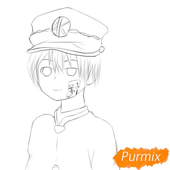 Рисуем Аманэ Юги из аниме Туалетный мальчик Ханако-кун - шаг 5