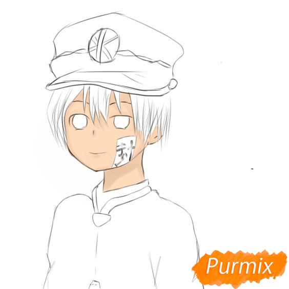 Рисуем Аманэ Юги из аниме Туалетный мальчик Ханако-кун - шаг 6