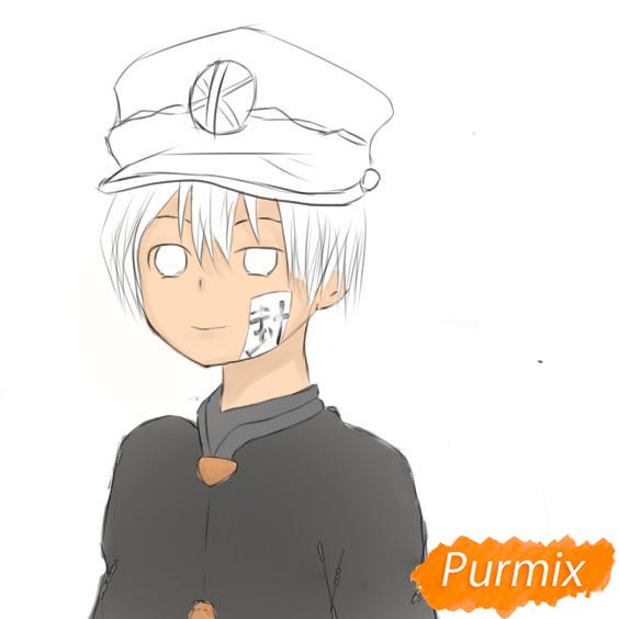 Рисуем Аманэ Юги из аниме Туалетный мальчик Ханако-кун - шаг 7