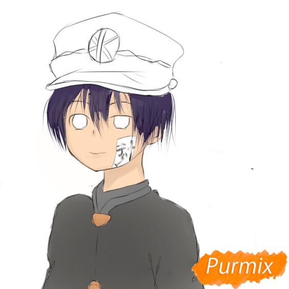 Рисуем Аманэ Юги из аниме Туалетный мальчик Ханако-кун - шаг 8