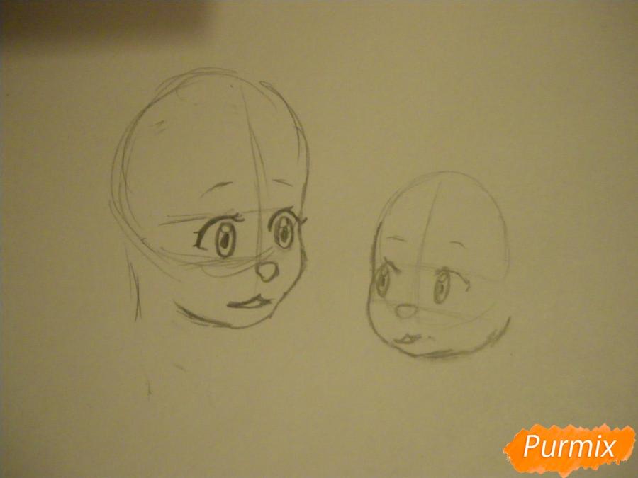 Рисуем Аме и Юки в детстве из аниме Волчьи дети Амэ и Юки - шаг 2