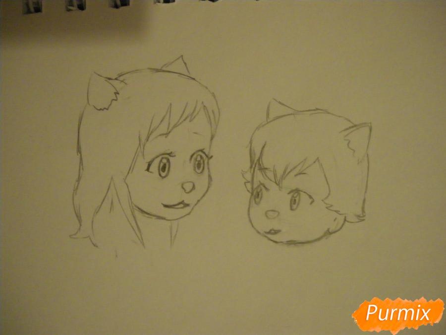 Рисуем Аме и Юки в детстве из аниме Волчьи дети Амэ и Юки - шаг 3