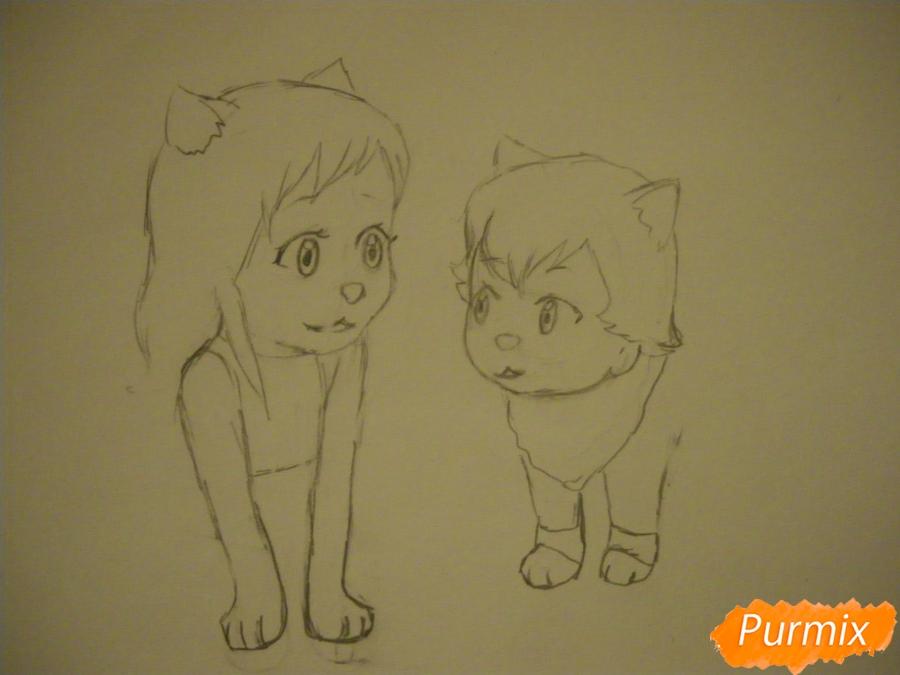 Рисуем Аме и Юки в детстве из аниме Волчьи дети Амэ и Юки - шаг 4