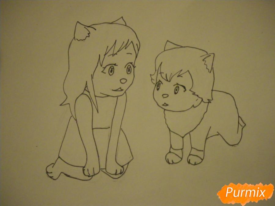 Рисуем Аме и Юки в детстве из аниме Волчьи дети Амэ и Юки - шаг 6