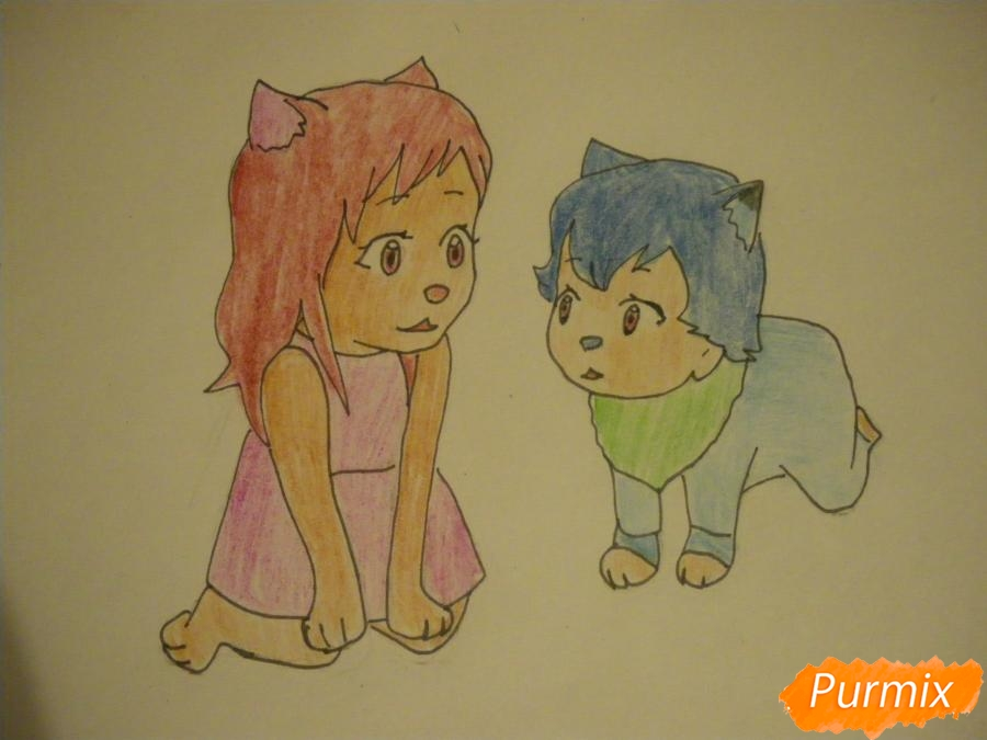 Рисуем Аме и Юки в детстве из аниме Волчьи дети Амэ и Юки - шаг 7