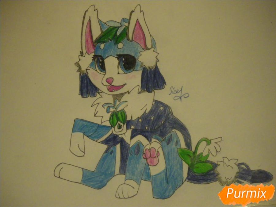 Рисуем аниме цветочную кошечку - шаг 10