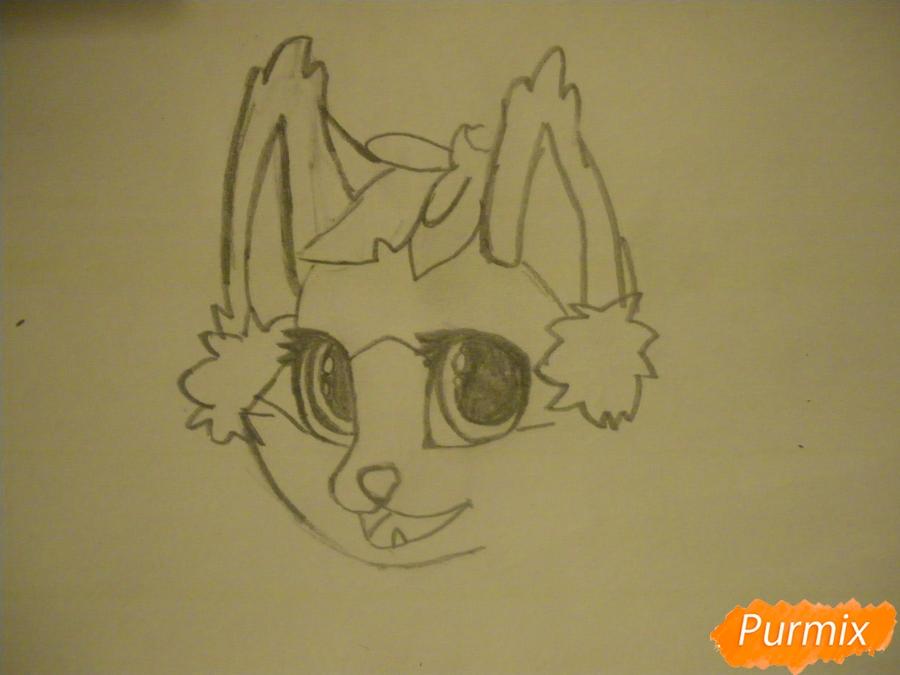 Рисуем аниме цветочную кошечку - шаг 3