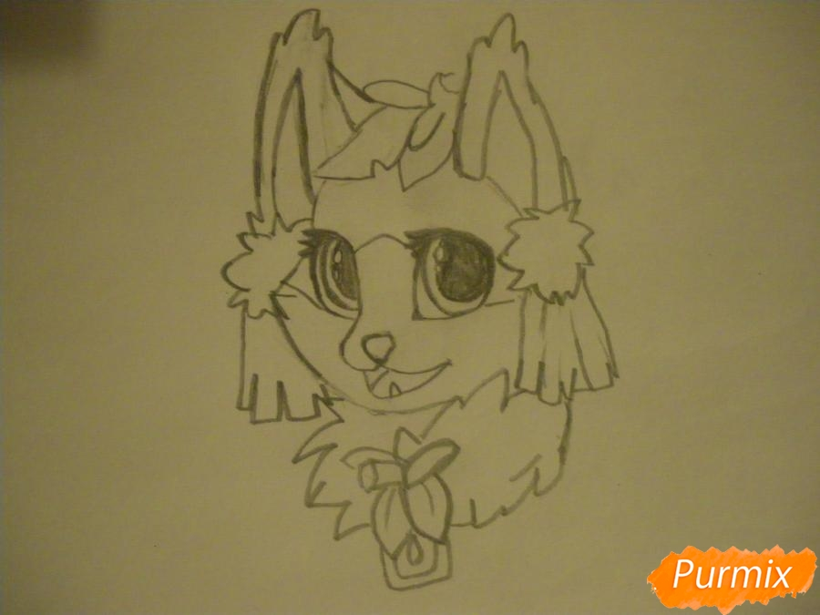 Рисуем аниме цветочную кошечку - шаг 4