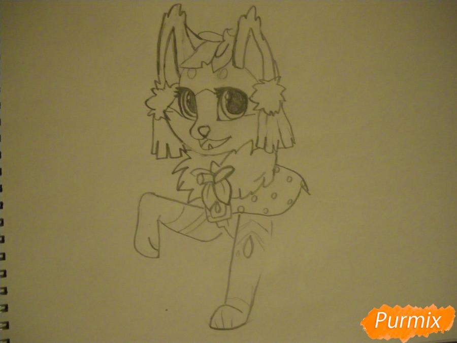 Рисуем аниме цветочную кошечку - шаг 5