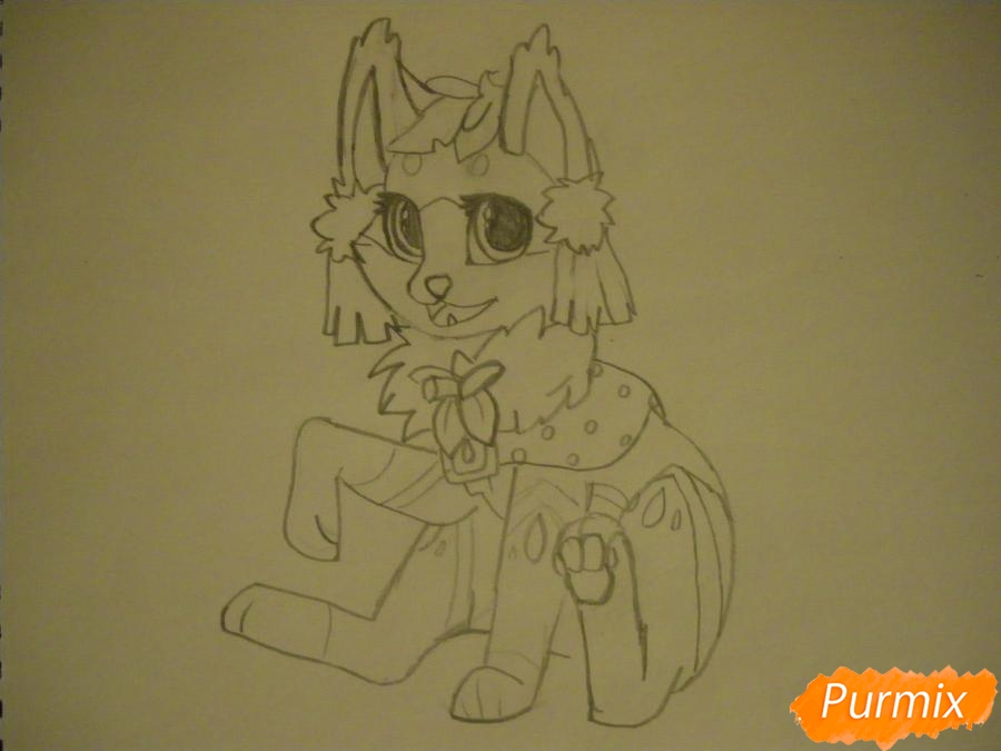 Рисуем аниме цветочную кошечку - шаг 6