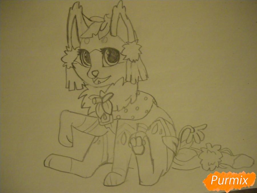 Рисуем аниме цветочную кошечку - шаг 7