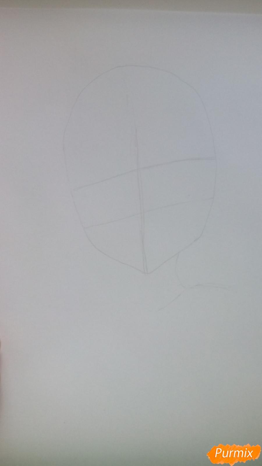 Рисуем аниме девочку c цветочками карандашами - шаг 1