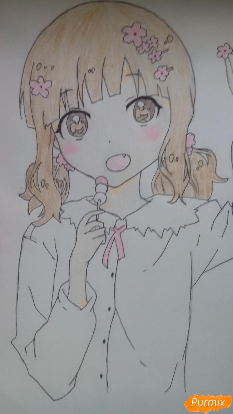 Рисуем аниме девочку c цветочками карандашами - шаг 11