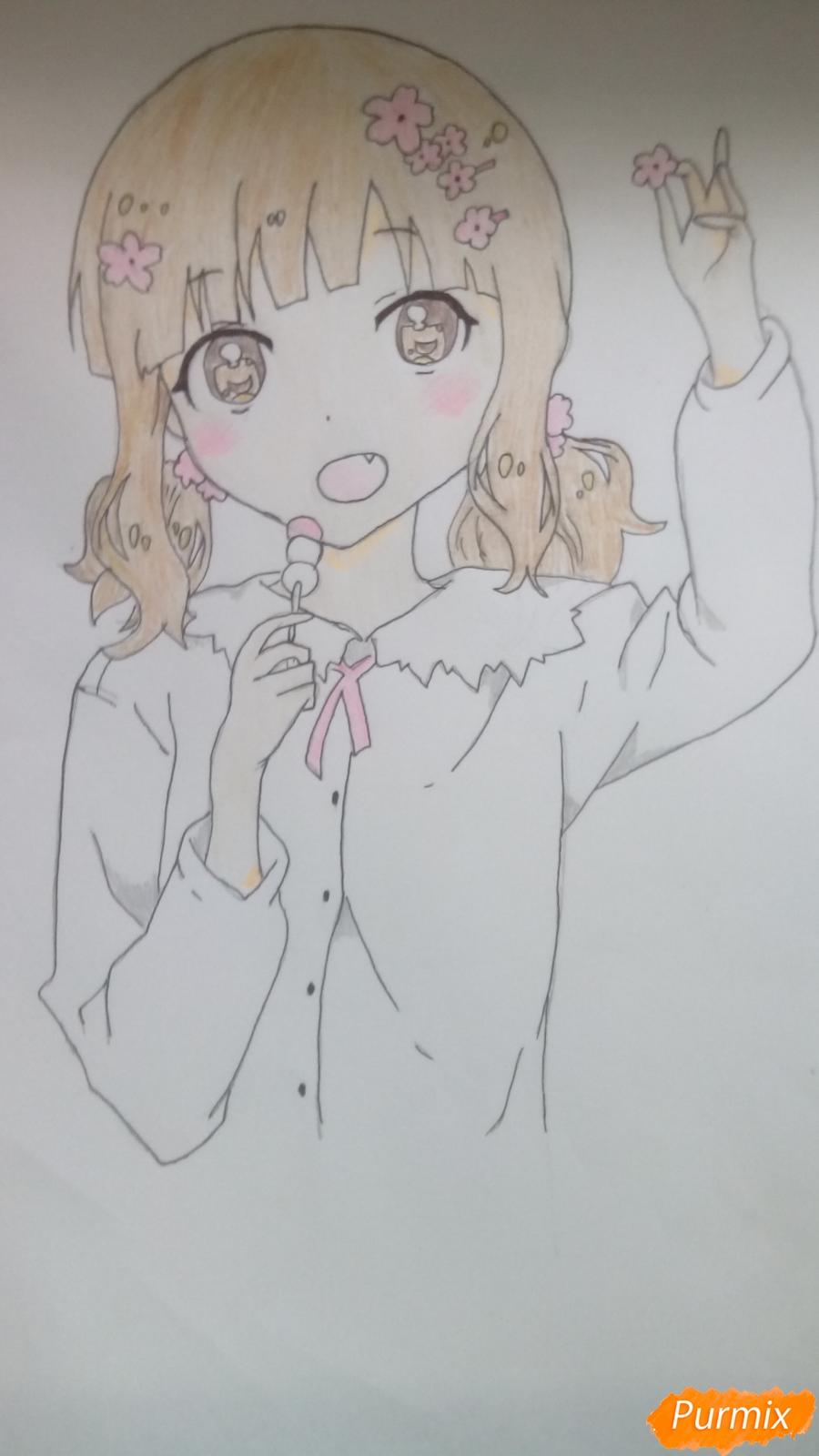 Рисуем аниме девочку c цветочками карандашами - шаг 12