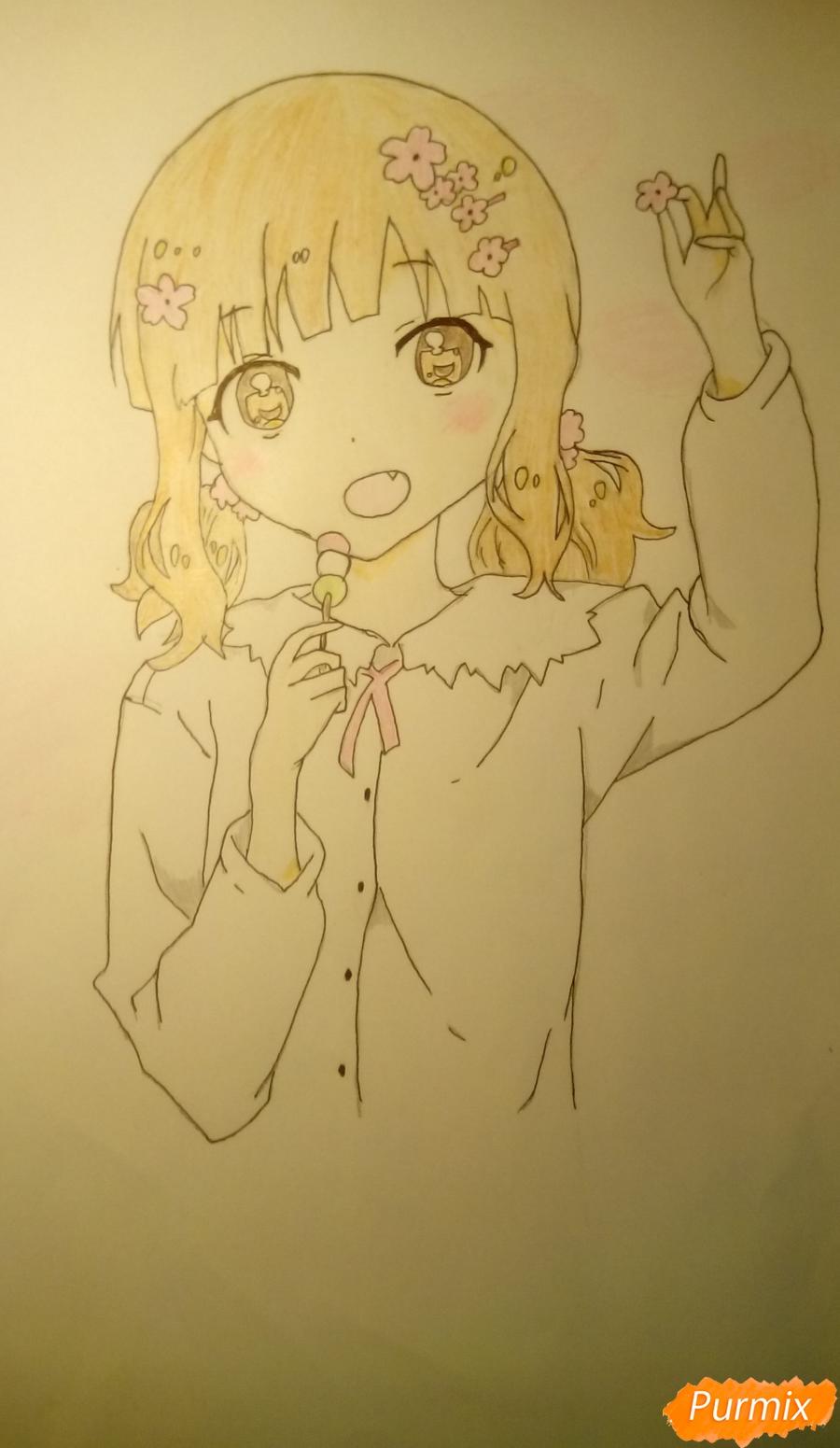 Рисуем аниме девочку c цветочками карандашами - шаг 14