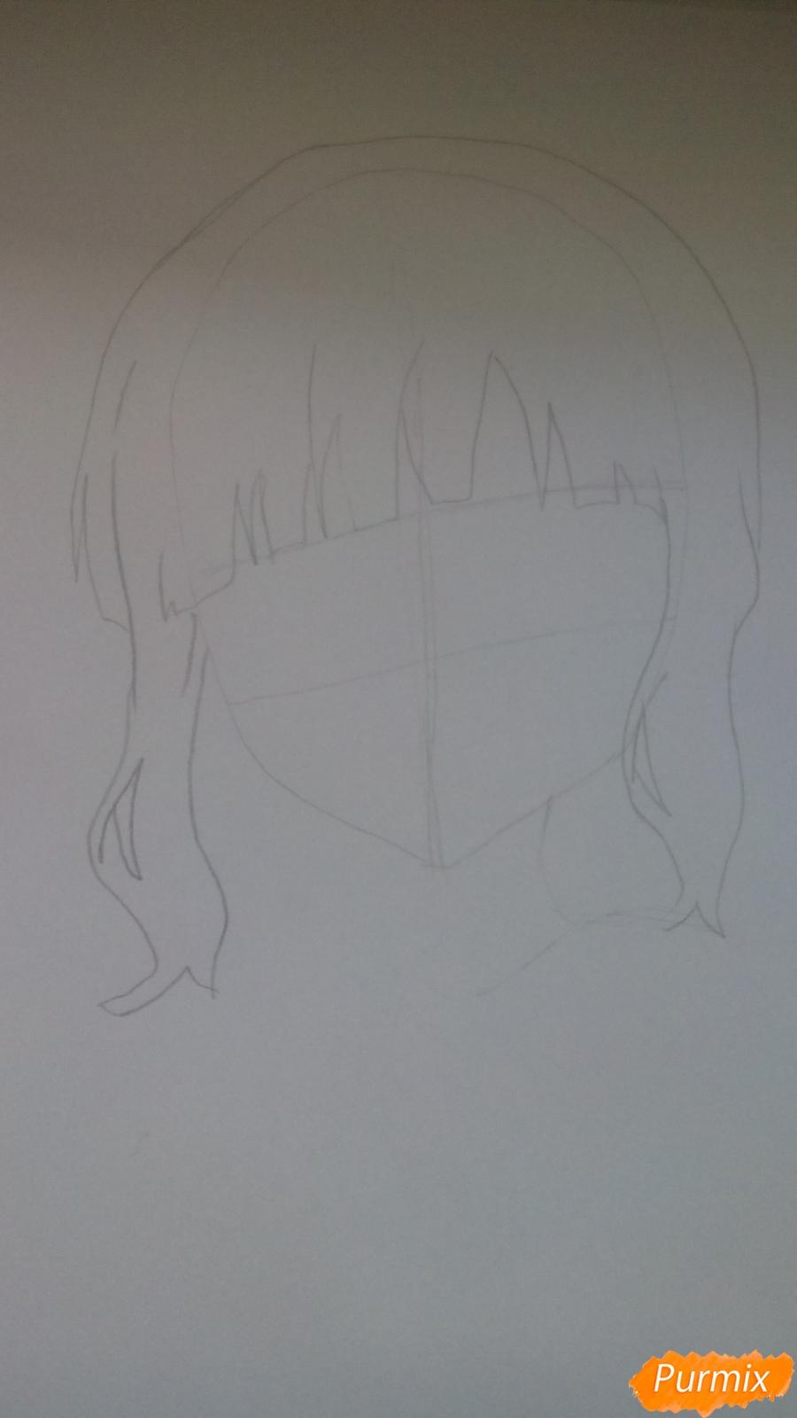 Рисуем аниме девочку c цветочками карандашами - шаг 2
