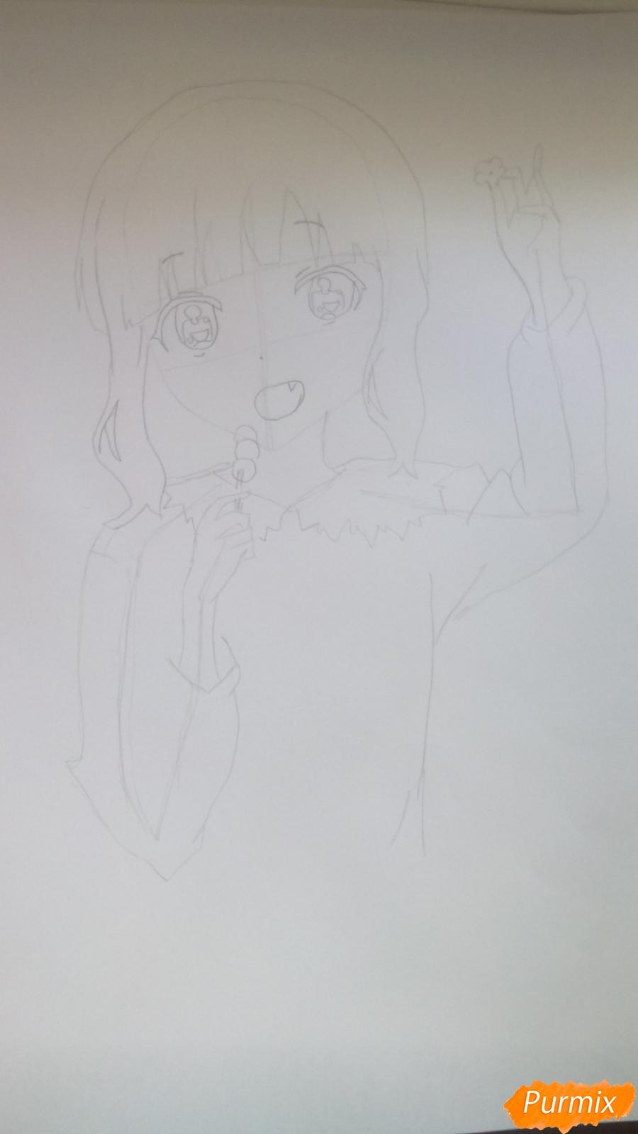 Рисуем аниме девочку c цветочками карандашами - шаг 5