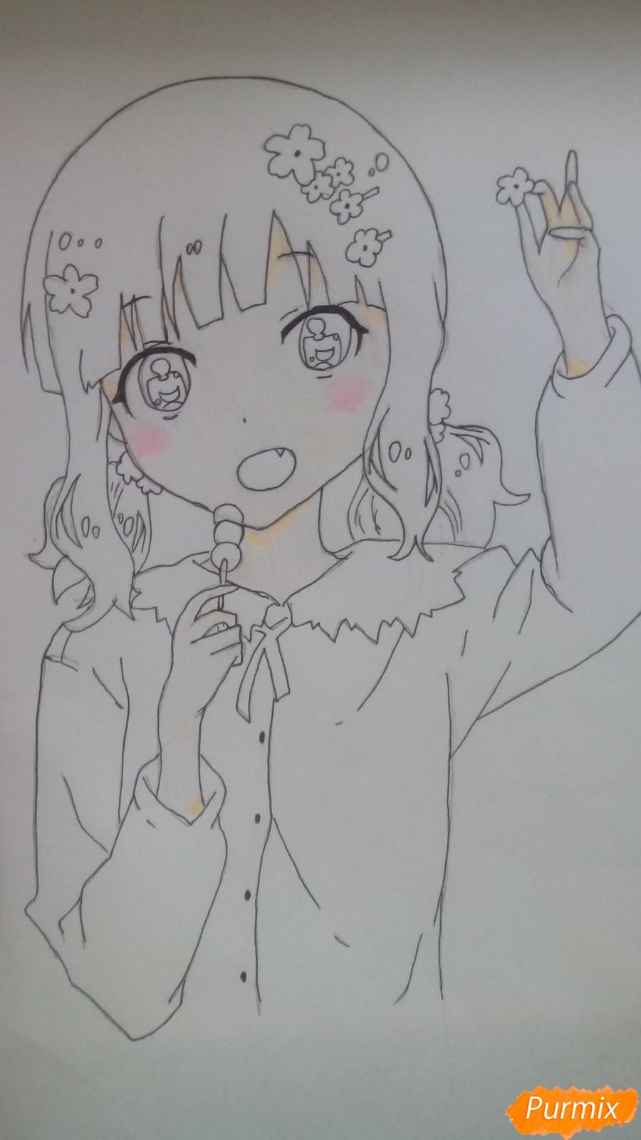 Рисуем аниме девочку c цветочками карандашами - шаг 8