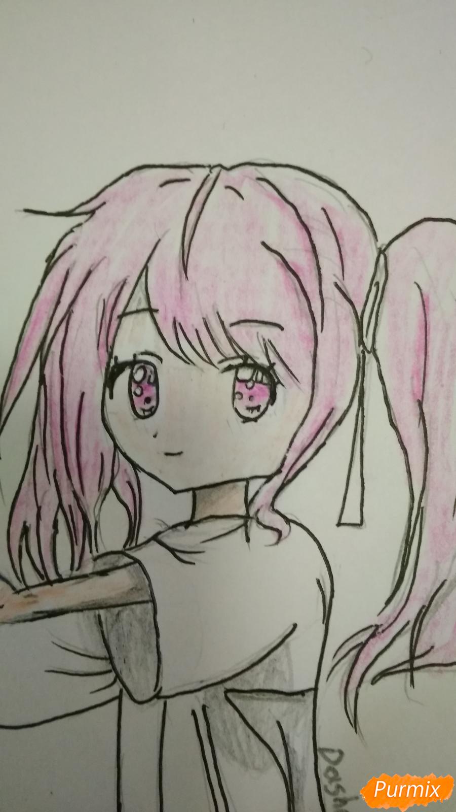 Девочка с розовыми волосами - шаг 7
