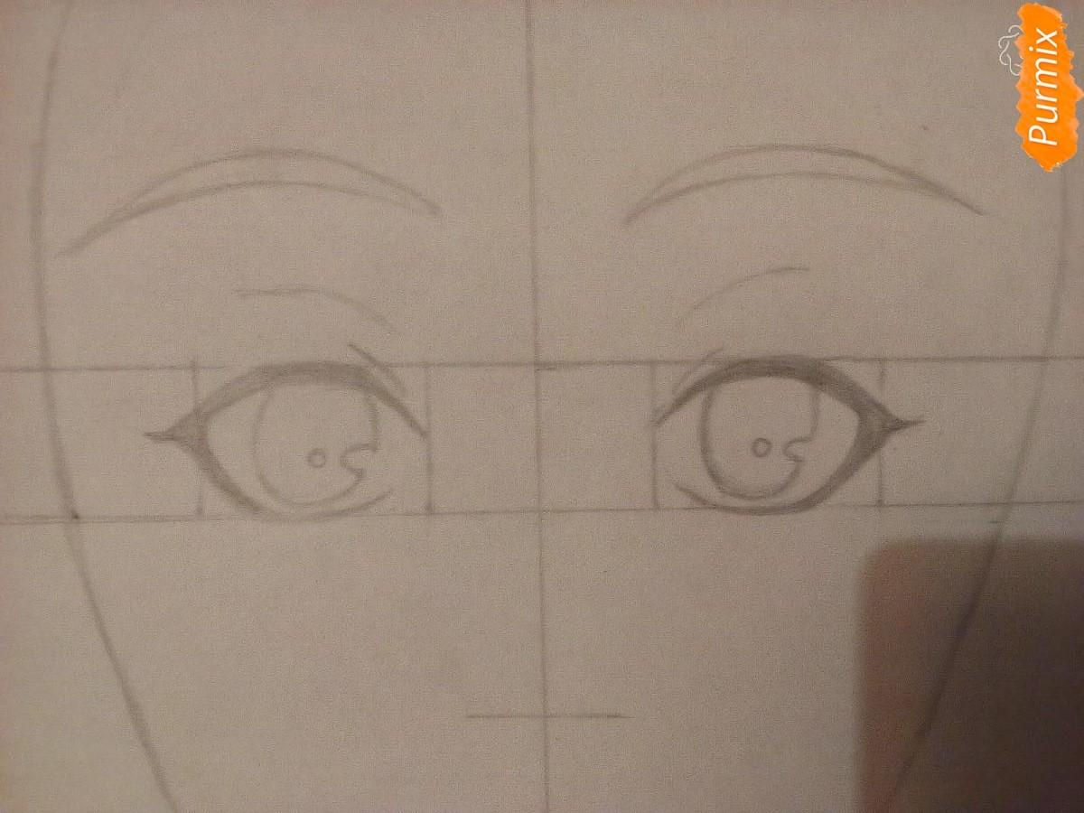 Рисуем аниме девочку в красных очка карандашами - шаг 2