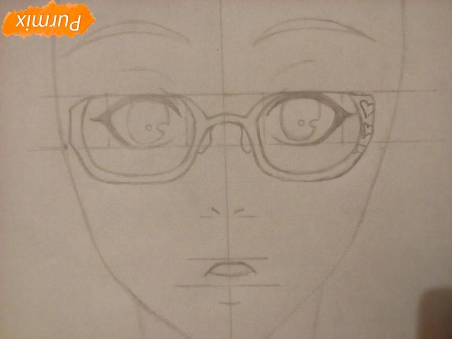 Рисуем аниме девочку в красных очка карандашами - шаг 4