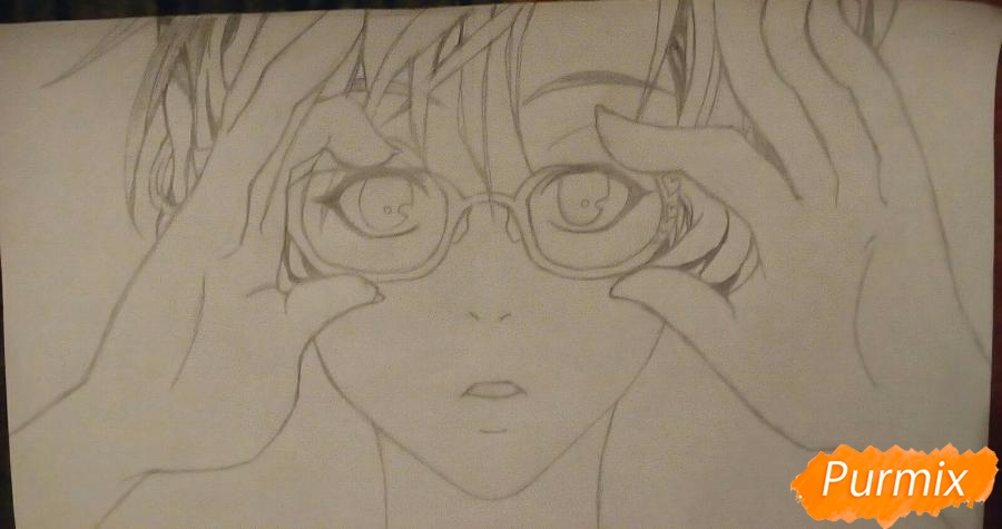 Рисуем аниме девочку в красных очка карандашами - шаг 7