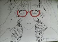 аниме девочку в очках карандашами