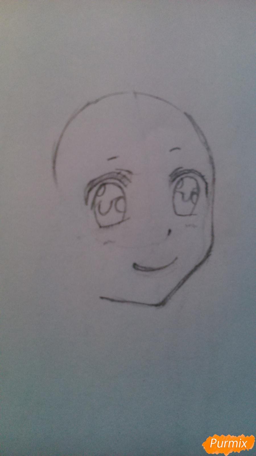 Рисуем аниме девушку с мороженом цветными карандашами - шаг 1