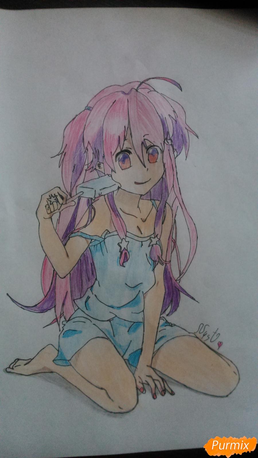 Рисуем аниме девушку с мороженом цветными карандашами - шаг 10