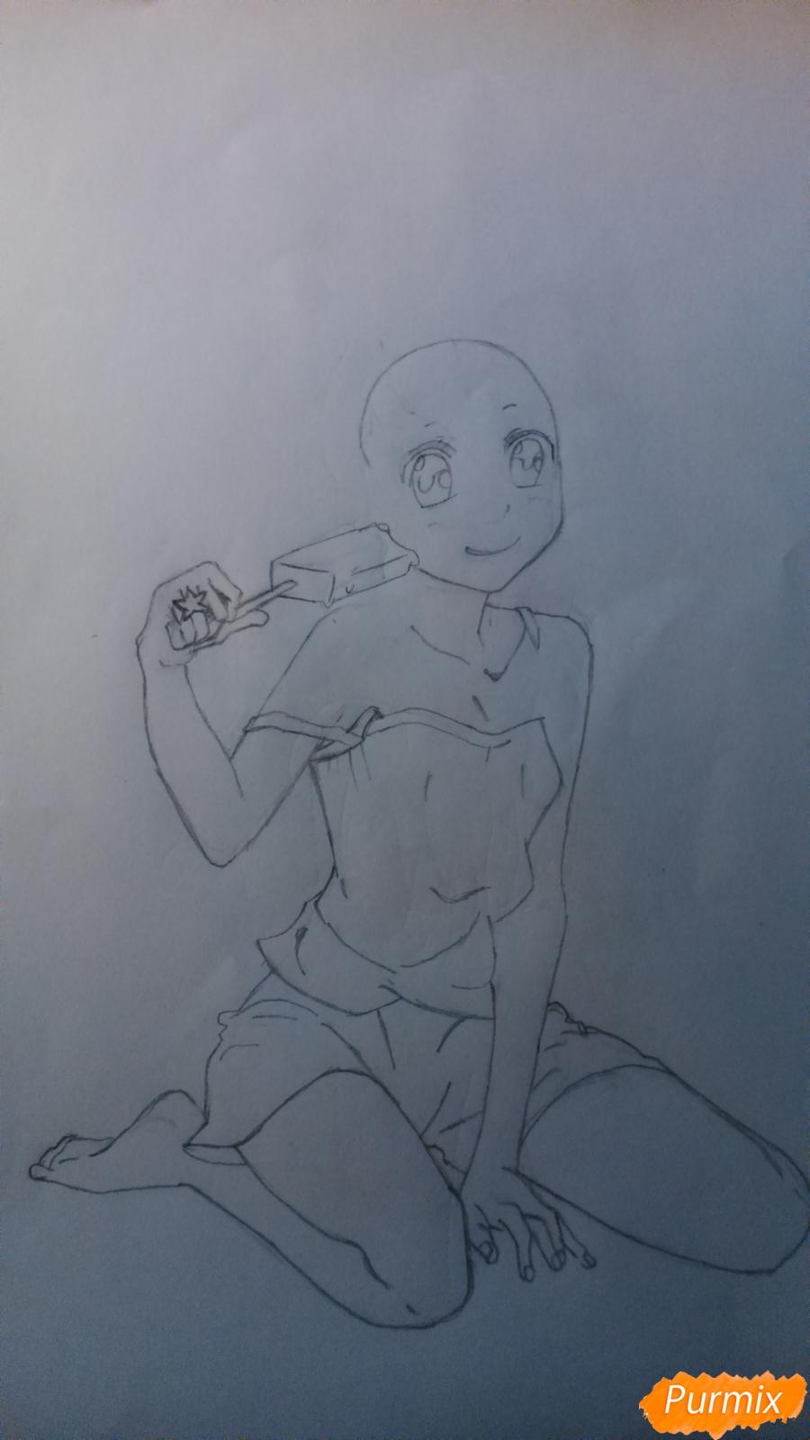 Рисуем аниме девушку с мороженом цветными карандашами - шаг 2