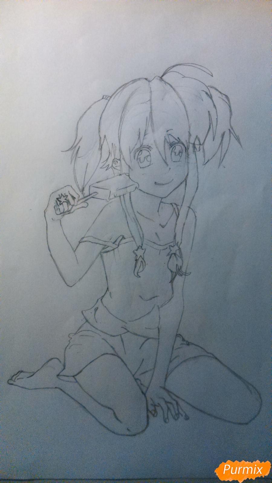 Рисуем аниме девушку с мороженом цветными карандашами - шаг 3