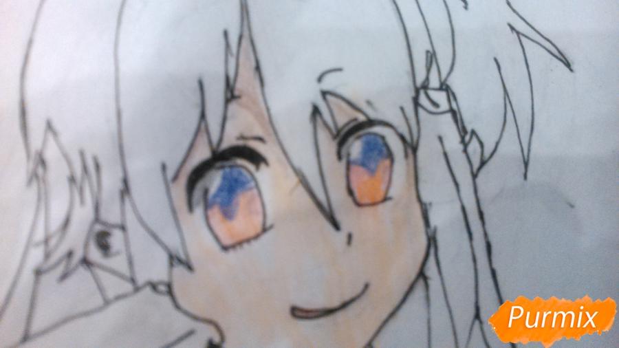 Рисуем аниме девушку с мороженом цветными карандашами - шаг 7