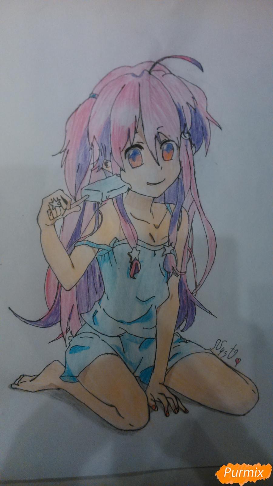 Рисуем аниме девушку с мороженом цветными карандашами - шаг 9