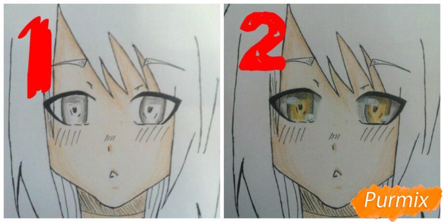 Учимся рисовать аниме девушку с ушками цветными карандашами - шаг 7
