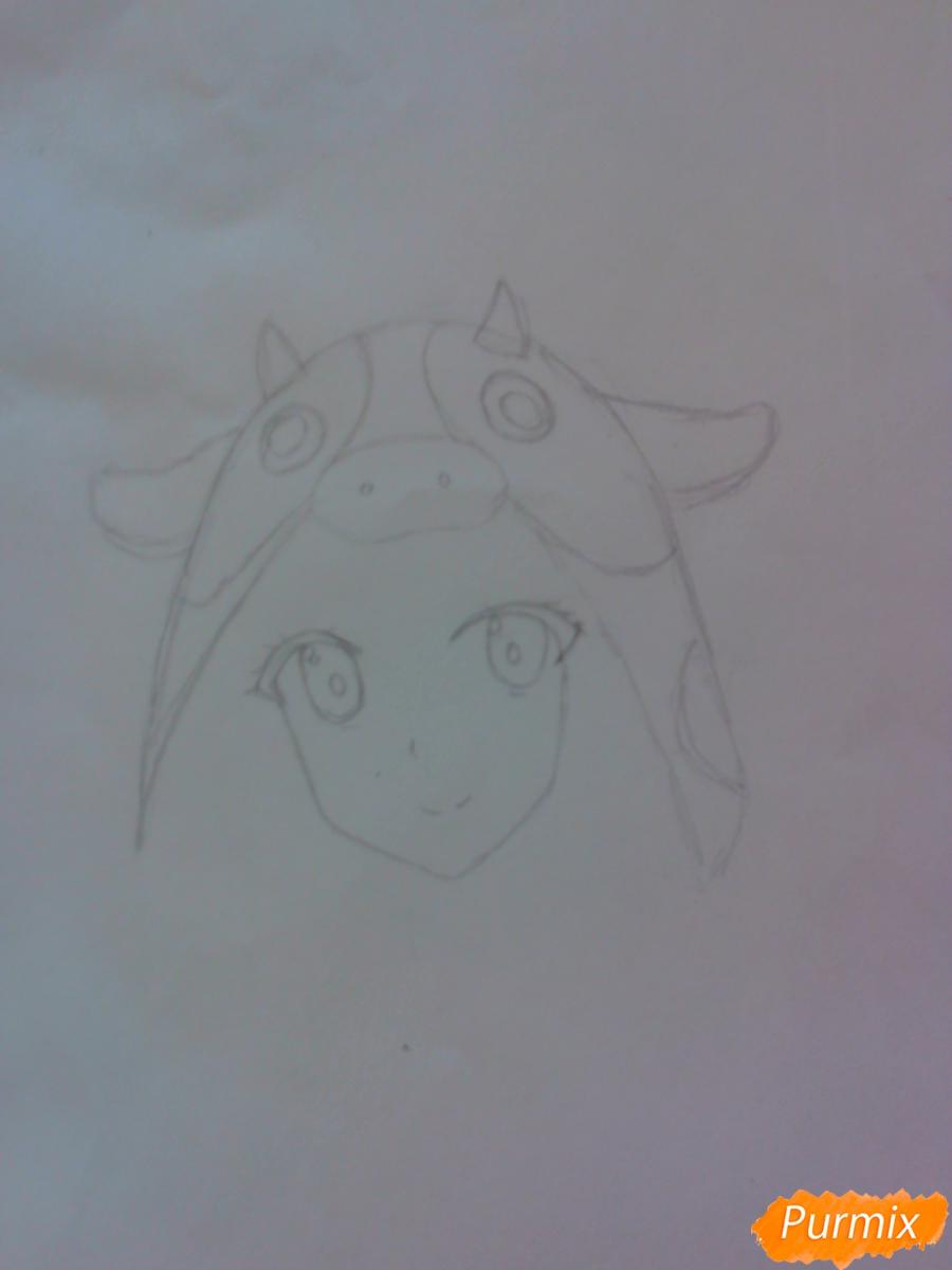 Рисуем аниме девушку в костюме коровки - шаг 2